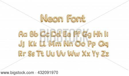 Inflated Gold Balloon Font With Capital And Lowercase Alphabet, Isolated, 3d Rendering. Empty Decora