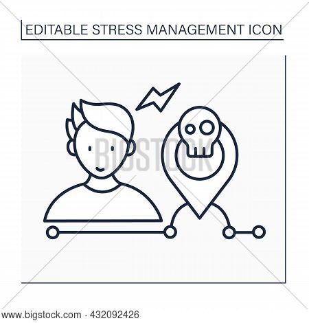 Avoid Stressful Situation Line Icon. Reduce Stress Triggers.eliminate Stressors Numbers. Mental Heal