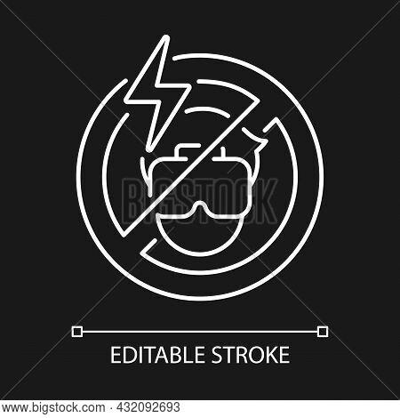 No Using If Headache White Linear Manual Label Icon For Dark Theme. Thin Line Customizable Illustrat