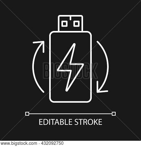 Lithium Ion Battery White Linear Manual Label Icon For Dark Theme. Thin Line Customizable Illustrati