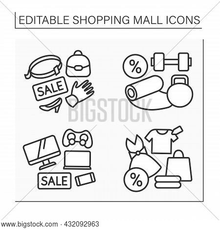 Shopping Mall Line Icon. Leather Accessories, Fashion Boutique, Electrical Store. Sports Shop. Mall