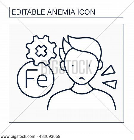 Anemia Line Icon. Disease Symptoms. Man Has Problem With Absorbing Iron. Health Protection Concept.