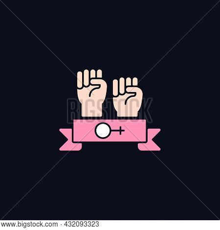 Women Community Rgb Color Icon For Dark Theme. Support Equal Rights. Feminist Solidarity. Fighting S