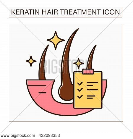 Keratin Results Color Icon. Hair Treatment Results. Healthy, Shiny And Well-groomed Hair. Keratin Tr