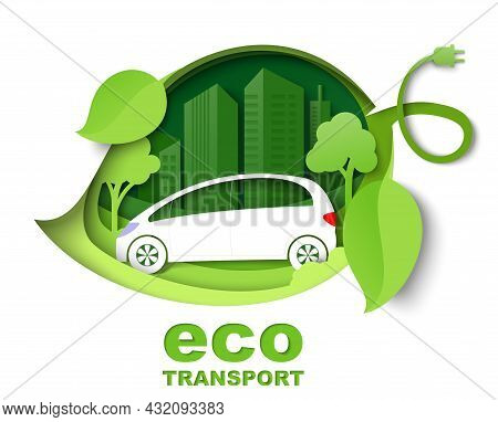 Green Leaf With Electric Car, City Building Silhouettes, Vector Paper Cut Illustration. City Eco Tra