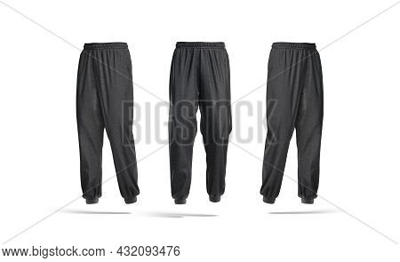 Blank Black Sport Sweatpants Mock Up, Front And Side View, 3d Rendering. Empty Textile Loungewear Pa