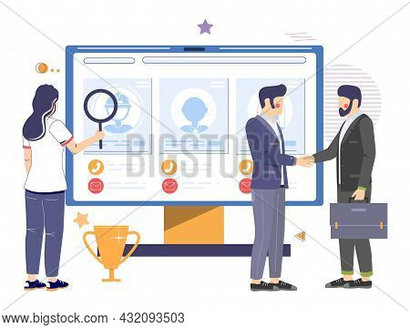 Online Recruitment, Hiring, Human Resources, Vector Illustration. Electronic Recruitment Or Internet