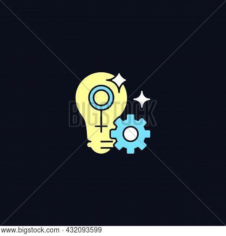 Fulfill Female Potential Rgb Color Icon For Dark Theme. Feminist Activist. Raising Woman Status. Iso