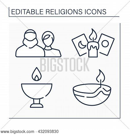 Religious Line Icons Set.main Religious Symbols. Hinduism Skull Cup.candle And Cards For Spiritualis