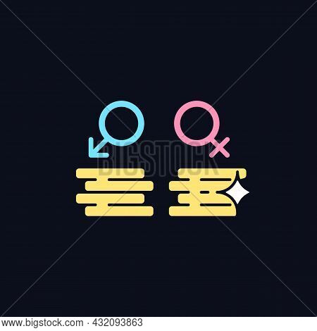 Workplace Gender Equality Rgb Color Icon For Dark Theme. Equal Pay For Work. Fighting Inequality. Is