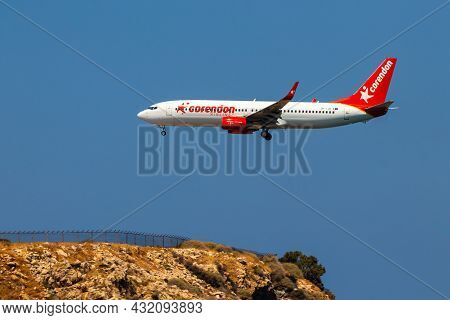 Heraklion, Greece - August 20, 2021 - A Boeing 737-800 Of The Low-cost Airline Corendon Airlines Wit
