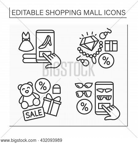 Shopping Mall Line Icon. Online Shopping, Accessories, Jewelry And Toy Store. Mall Complex Concept.