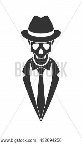 Mister Skeleton Graphic Icon. Human Skull In Hat, Suit And Tie Sign Isolated On White Background. Ve