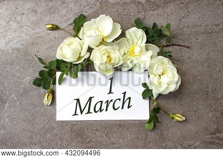 March 1st . Day 1 Of Month, Calendar Date. White Roses Border On Pastel Grey Background With Calenda