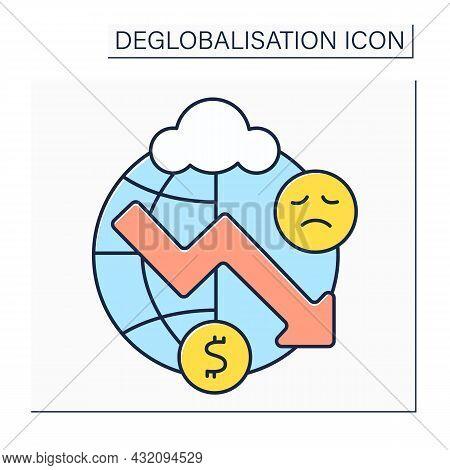 Economic Depression Color Icon.sustained, Long-term Downturn In Economic Activity. Financial Turmoil