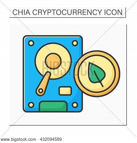 Chia Plot Color Icon. Hard Disk Space. Output Plot File, Temporary Space. Digital Money Concept.isol