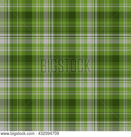Seamless Pattern In Green And Gray Colors For Plaid, Fabric, Textile, Clothes, Tablecloth And Other