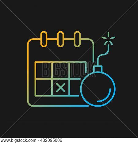 Meeting Deadline Gradient Vector Icon For Dark Theme. Complete Task Within Time Frame. Set Date To E