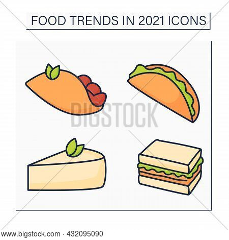 Food Trends Color Icons Set. Trendy Dishes. Tacos, Tender Cheesecake, Birria, Quesabirria, Sandos. N