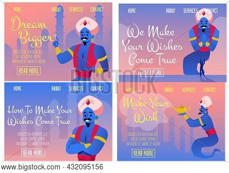 Set Fantasy Web Banners With Genie Granting Wishes, Flat Vector Illustration.