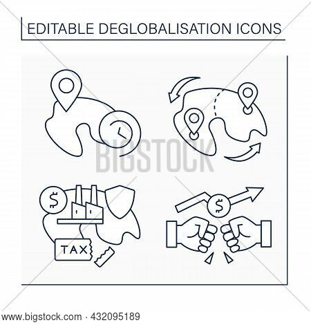 Deglobalisation Line Icons Set. Trade War, Localized Future, Land Redistribution, Protectionism. Wor