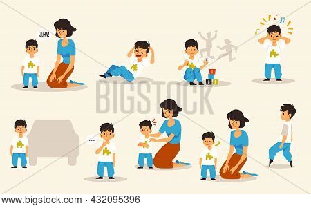 Set Of Mother And Child With Autism Disorder, Flat Vector Illustration Isolated.