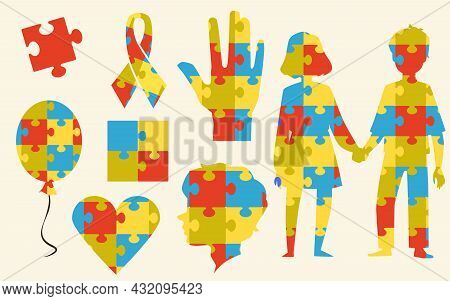 A Set Of Icons From Color Puzzle Pieces For World Autism Awareness Day