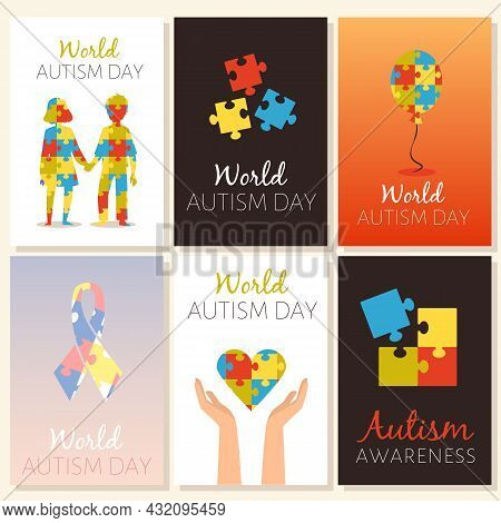 Banners For World Autism And Attention Deficit Day, Flat Vector Illustration.