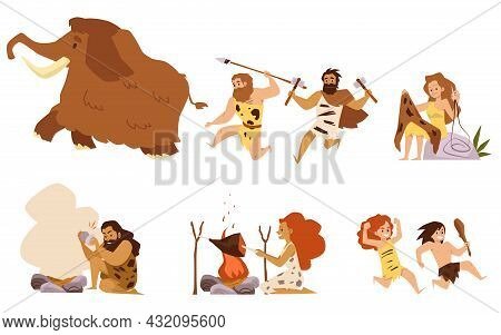 Set Characters Of Prehistoric People Living In Stone Age A Vector Illustrations.