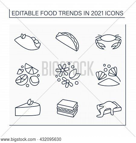 Food Trends Line Icons Set.food And Drinks Recipes. Delicious Snack. New Recipes Concept. Isolated V