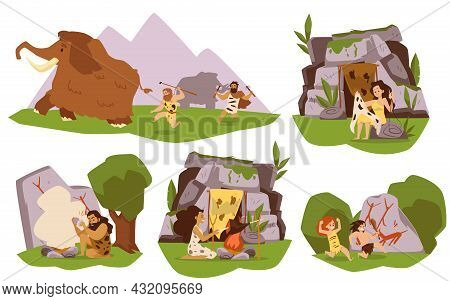 Banners Depicting Life Of Prehistoric Family Flat Vector Illustration Isolated.