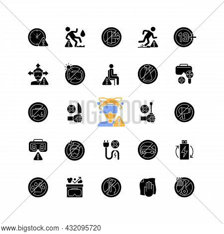 Virtual Reality Headset Usage Instruction Black Glyph Manual Label Icons Set On White Space. Vr Devi