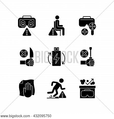 Vr Glasses Instructions Black Glyph Manual Label Icons Set On White Space. Virtual Reality Headset U
