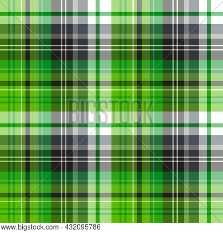 Seamless Pattern In Bright Green And Gray Colors For Plaid, Fabric, Textile, Clothes, Tablecloth And