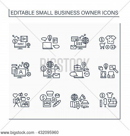 Small Business Owner Line Icons Set. Individual Entrepreneur. Different Businesses. Profitable Start