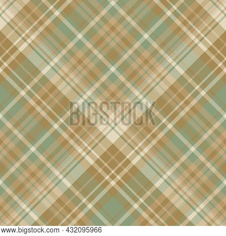Seamless Pattern In Discreet Green And Beige Colors For Plaid, Fabric, Textile, Clothes, Tablecloth