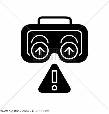 Use Lenses Protection Black Glyph Manual Label Icon. Cover Vr Headset Lenses With Protector. Silhoue