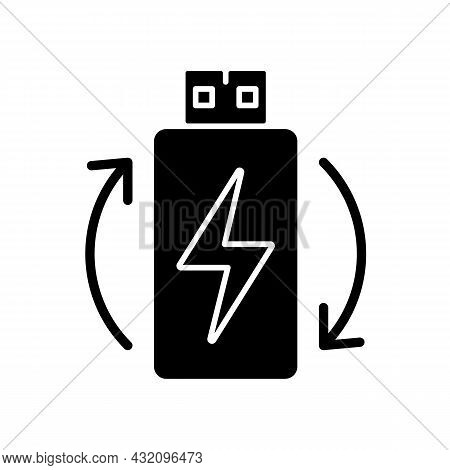 Rechargeable Lithium Ion Battery Black Glyph Manual Label Icon. Reusable Accumulator. Energy For Vr