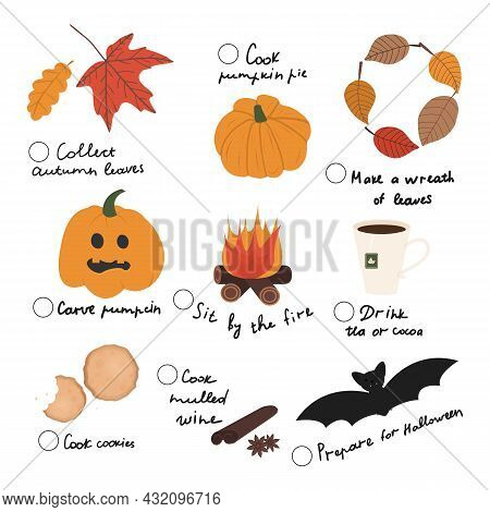 Cute And Trendy Vector Illustration With Autumn And Halloween Elements. Autumn Check List, Fall To D