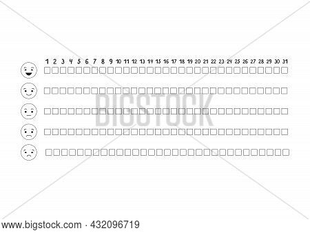 Printable A4 Paper Sheet With To Fill Planner Of Mood Tracker In Minimalist Style. Template For Bull