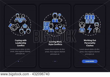 Team Relations Onboarding Mobile App Page Screen. Work Relations Walkthrough 3 Steps Graphic Instruc