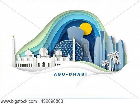 Abu Dhabi City, Uae, Vector Paper Cut Illustration. Grand Mosque, Famous Landmark And Tourist Attrac