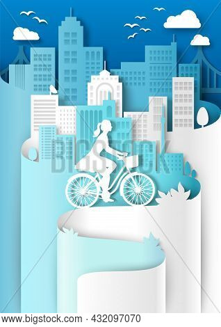 Woman Riding Bicycle With Basket, City Building Silhouettes, Vector Paper Cut Illustration. City Eco