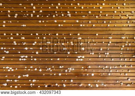 Background Of Wooden Sticks With Small Round Snowballs