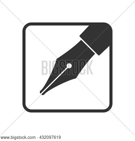 Ink Pen Graphic Icon. Ink Nib Sign Isolated On White Background. Fountain Pen Symbol. Vector Illustr