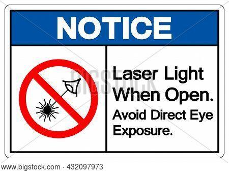 Notice Laser Light When Open Avoid Direct Eye Exposure Symbol Sign ,vector Illustration, Isolate On