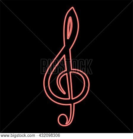 Neon Treble Clef Red Color Vector Illustration Flat Style Light Image