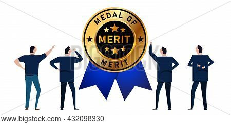 Merit Medal Of Award For Best Employee In Company Organization Achievement Meritocracy