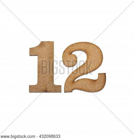 Number Twelve, 12 - Piece Of Wood Isolated On White Background