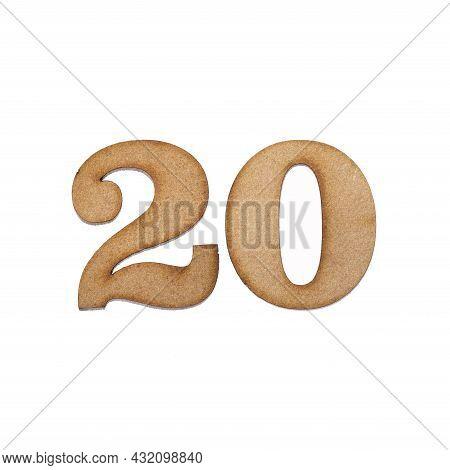 Number Twenty, 20 - Piece Of Wood Isolated On White Background